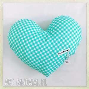 poduszka serce kratka - kratka, minky, serce