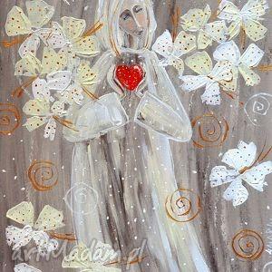 marina czajkowska anioł z serduszkiem, sztuka, anioł, serce, święta, obraz, miłość