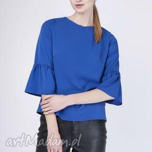 Urocza bluzka z falbanką, BLU128 indygo , bluzka, urocza, falbanka, trapezowa