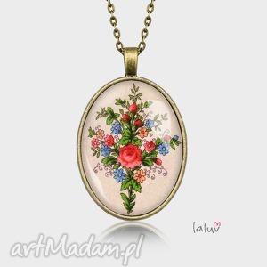 medalion owalny dzika rÓŻa - kwiat, kwiaty, pole, ludwe, folk, etniczne