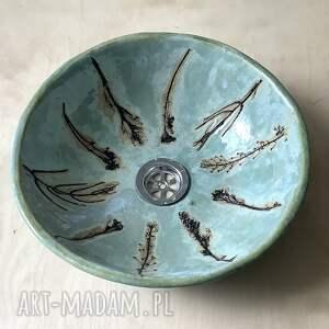 ceramiczna umywalka błękitna łąka, umywalka, z gliny