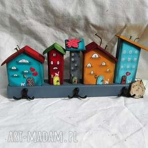 wyjątkowy prezent, kolorowe domki nr 2, z drewna, domki, kot koty
