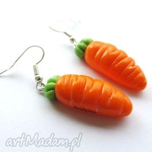 unikalny, kolczyki dwie marchewki, kolczyki, modelina, masa, fimo, marchewka