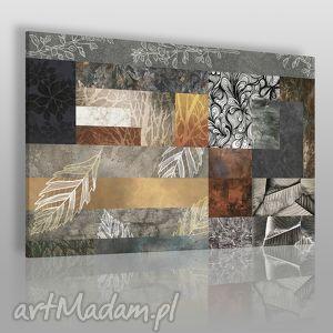 obraz na płótnie - liście mozaika 120x80 cm 46001, liście, jesień