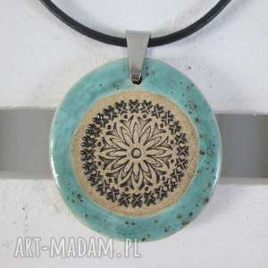 wyjątkowy prezent, naszyjnik blue ethno, ceramiczny naszyjnik, z ceramiki