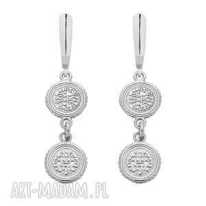 sotho srebrne kolczyki z monetami - wiszące, delikatne zawieszki, monety