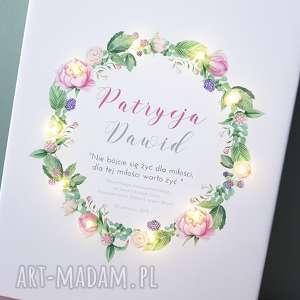obraz led, wianek, piwonie, personalizowany prezent, ślub, rocznica, kwiaty