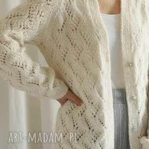 Ażurowy kardigan ecru swetry mondu kardigan, dziergany, dekolt