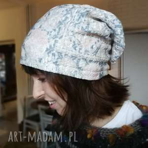 czapka ażurowa koronka pastel damska - koronka, pastel, ażurowa, choroba, sport