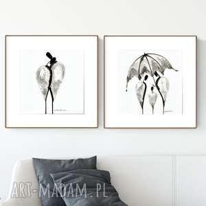 zestaw 2 grafik 30X30 cm wykonanych ręcznie, abstrakcja, elegancki minimalizm, obraz