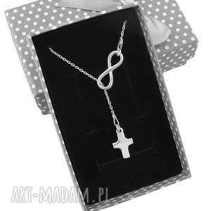 srebrny naszyjnik krawat y nieskończoność krzyż pudełko, srebrny