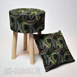 oryginalne prezenty, pufy fjerne m czarne liście, fjerne, stołek