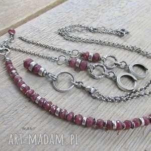 rubin - kobieco komplet, srebro, rubin, bransoletka, kolczyki, naszyjnik, wyjątkowy