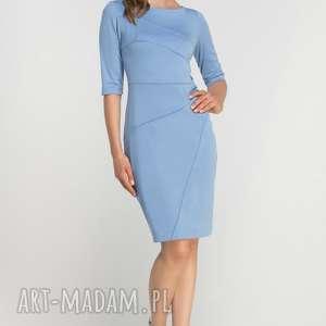 sukienki dopasowana sukienka z przeszyciami, suk146 błękit, casual, przeszycia