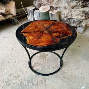 stoły okrągły stolik kawowy z żywicą 3, platan, żywica, stolik, połysk, drewno