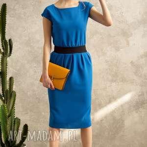 NIEBIESKA SUKIENKA MONO VOYAGE, sukienka, midi, niebieska, dopasowana, elegancka