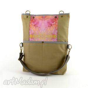 torba na ramię składana z serii duo beige no 1 , miejska, boho,