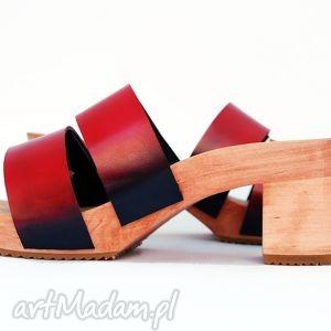 drewniaki patynowana skóra, buty, ręcznie, robione, malowane, drewniaki