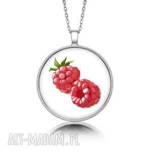 naszyjniki medalion okrągły z grafiką maliny, prezent, upominek, oryginalny
