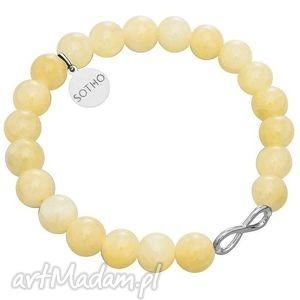 sotho żółta bransoletka nefryt bursztynowy symbol - nieskończoność