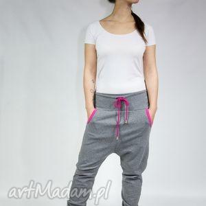 spodnie caroll - dres szary róż, ciążowe, yoga, dance, dresowe, zumba, bawełna