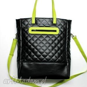 Prezent Shopper Bag pikowany - czarny i zielony, elegancka, nowoczesna, pikowana