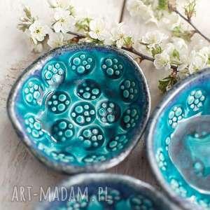 Miseczki 3 sztuki ceramiczne, turkusowe, ceramika, miska, miseczki, komplet