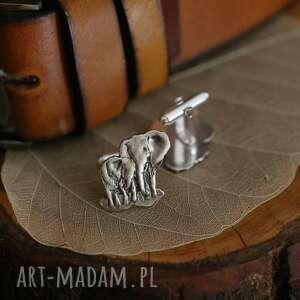 ręczne wykonanie męska słonie srebrne spinki do mankietów