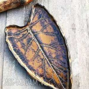 ceramika ceramiczny talerz liść c48, liść, patera, ceramika