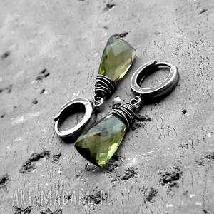 kolczyki krople - srebro i kwarc oliwkowy, delikatne, eleganckie, krótkie, wiszące