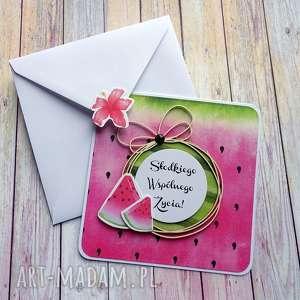 scrapbooking kartki soczysta i apetyczna, życzenia ślubne, słodka, owoce, arbuz