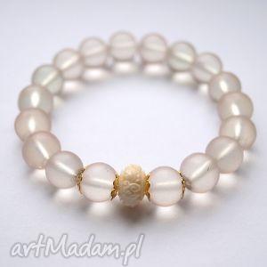bransoleta matt beads carved coral, koral, rzeźbiony, matowe, szkło