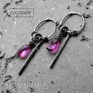 Srebro i kwarc- kolczyki boho. , długie, rózowe, z-kamieniami, z-zawieszkami, srebrne