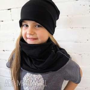 Prezent KOMPLET czapka & komin CZARNY, czapka, komin, komplet, dziecko, prezent
