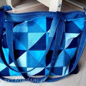 poduszki torebka denim turkusowy patchwork, torebka, jeans, patchwor, recykling