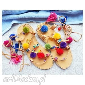 buty 38- sandały rzymianki z pomponami w stylu boho, sandały
