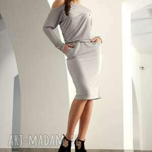 sukienki asymetryczna z marszczeniem, rozm 34, sukienka, dzianina, asymetryczna