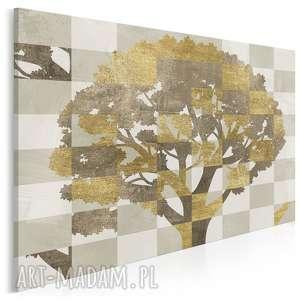 obraz na płótnie - drzewo brązowy złoty 120x80 cm (80901)