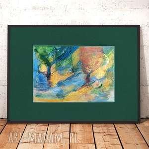 pejzaż rysunek, obrazek z pejzażem, ręcznie wykonany kolorowy rysunek