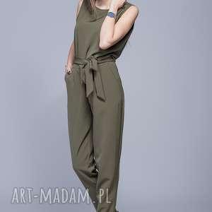 elegancki kombinezon oliwka h023 - kombinezon, długie spodnie, pasek, elegancki