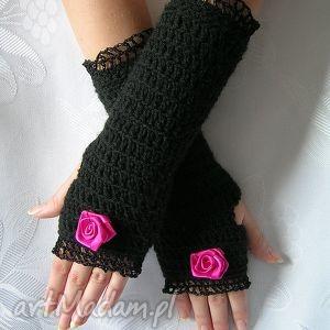 rękawiczki mitenki - czarne z koronką i różą - mitenki, ocieplacze