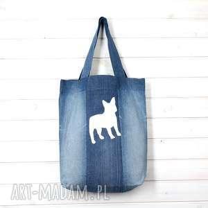 torba dżinsowa z psem zapinana pies, torba, zakupy, buldożek, mops