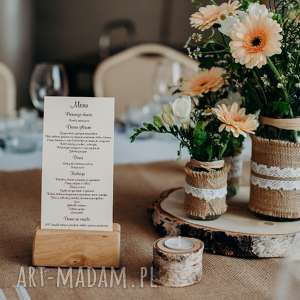 Drewniany stojak pod menu ślub hagal rustykalny, boho,