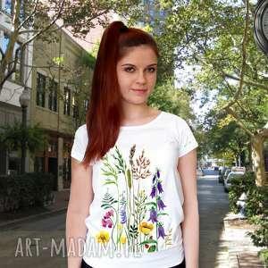 bluzka damska ręcznie malowana łąka, koszulka, bluzka, bawełniana czysta
