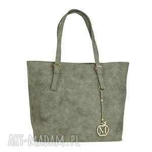 MANZANA Klasyczna duża torebka miejski styl szara muflon, klasyczna, duża, siwa