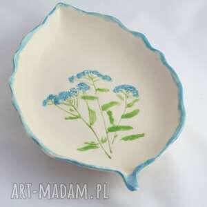Talerz z ziołami turkusowy ceramika reniflora artystyczna