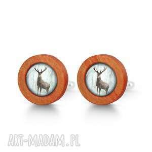 LiliArts: jeleń 3 - drewniane spinki do mankietów red - spinki mankietów męskie