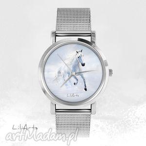 zegarek, bransoletka - biały koń 2 magic forest, koń, grafika, biegnący