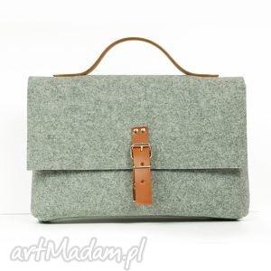 paulinska torebka do ręki ze skórą naturalną, filcowa, teczka, listonoszka