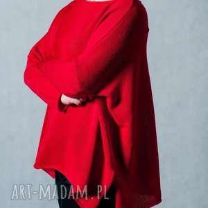 Sweter czerwony, sweter, bawełna, luźny-krój